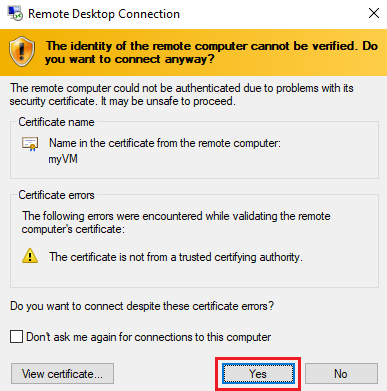 Screenshot of the Certificate warning dialogue informing the user of an untrusted certificate, with the Yes button highlighted.