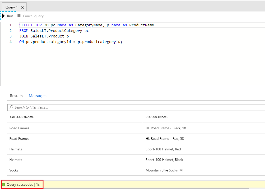 Screenshot of the database Query Editor pane with the SQL code having been run successfully and the output visible in the results pane.