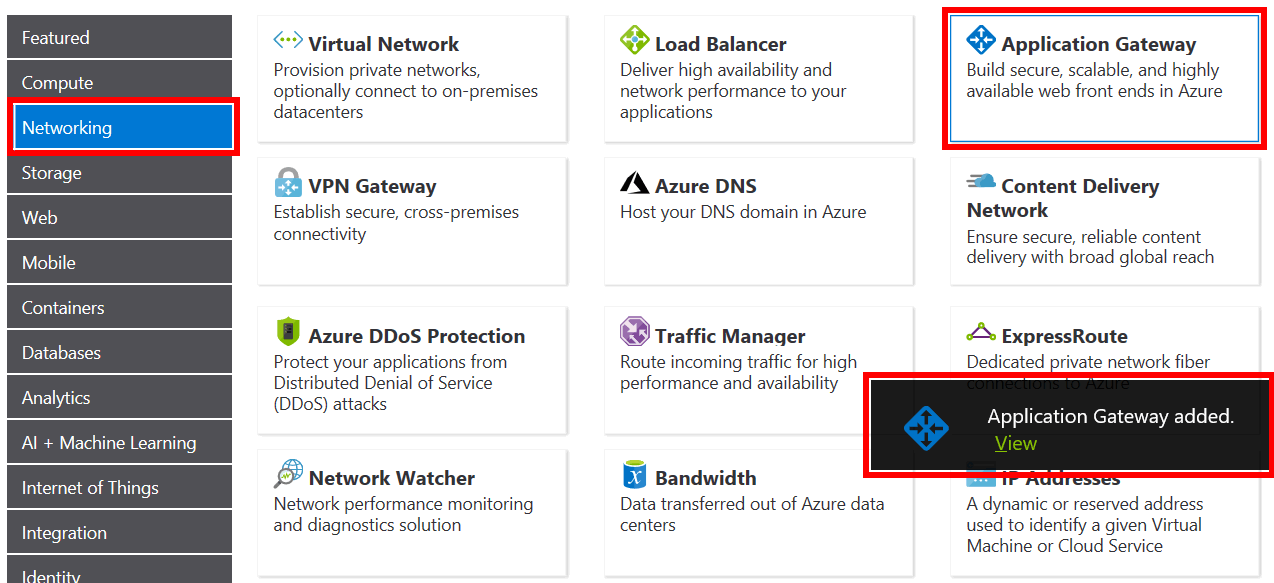 Screenshot of the networking products area within the Azure pricing calculator webpage. The highlighted networking, add application gateway, and view application gateway, tiles indicate how to add and view details of an application gateway configuration in an Azure pricing calculator estimate.