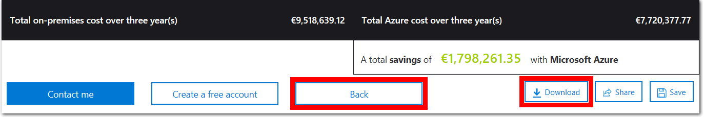 Screenshot of the report pane of the tco calculator in Azure. The highlighted and completed input fields indicates how set the tco calculator timeframe to three years and the region to north europe. A graph shows the cost of on-premises infrastructure and workloads off-set against the reduced cost of using Azure.
